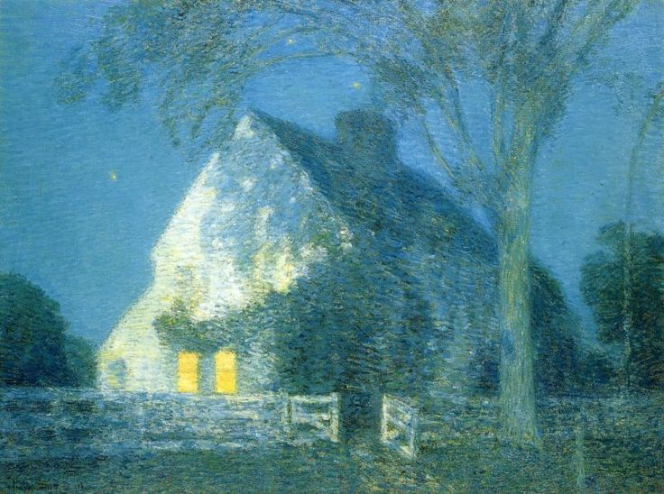 Moonlight, the Old House by Frederick Childe Hassam