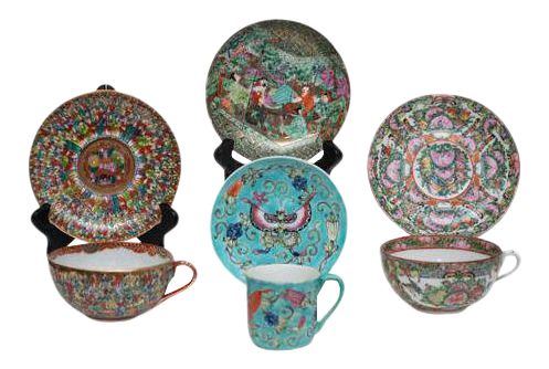 3 Asian Teacups & Saucers - Antique Japanese Meiji Kutani gilt cup in Thousand Faces pattern; Chinese famille rose cup & saucer, circa 1950; Famille verte cup & saucer;  along with 1 Japanese saucer.