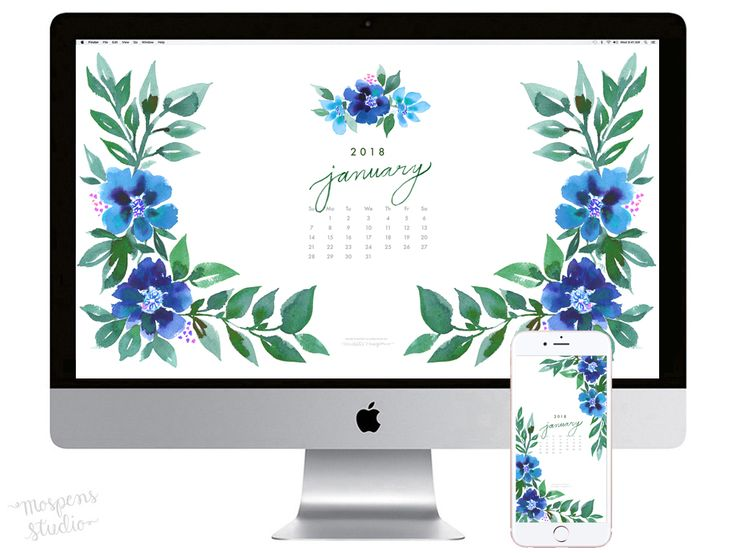 January 2018 floral watercolor wallpaper download by artist Michelle Mospens. - Mospens Studio