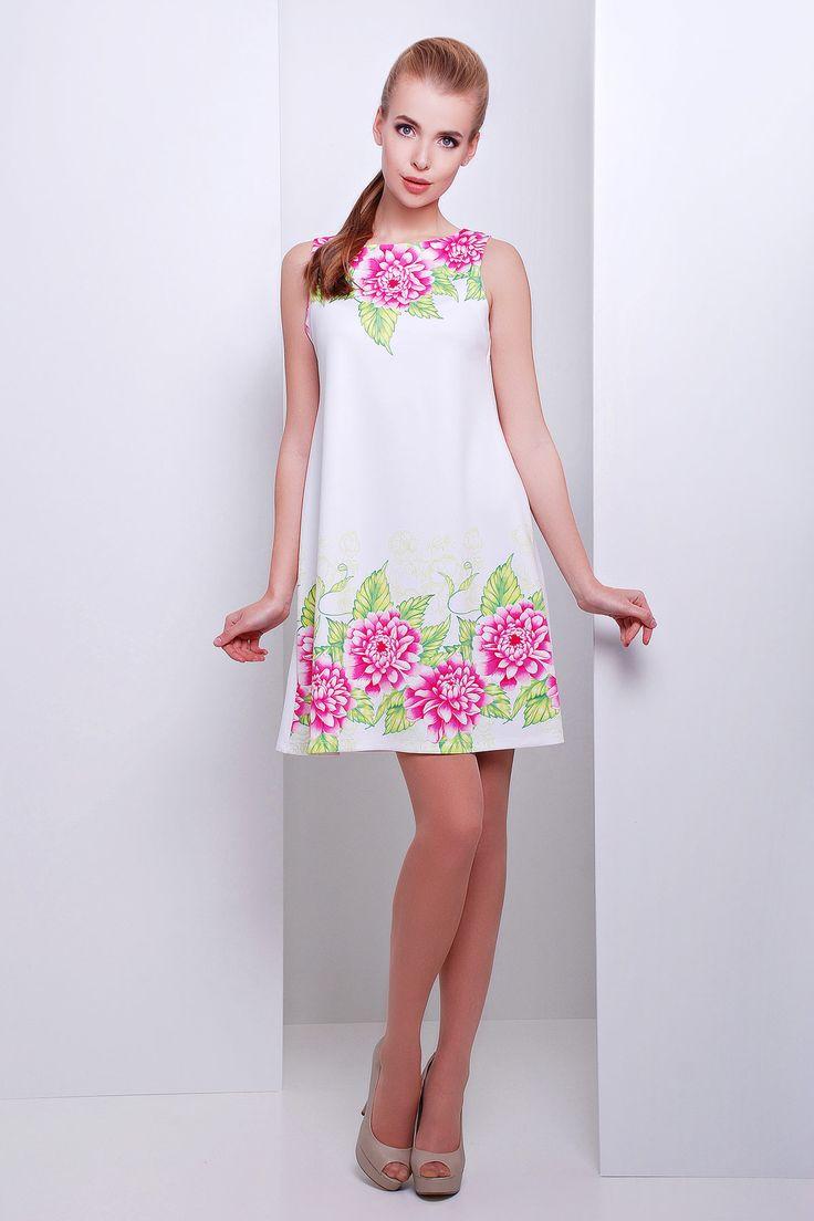 Белое платье-трапеция на сезон весна-лето без рукавов с цветочным принтом. Пионы платье Лада б/р. Цвет: принт-белая отделка