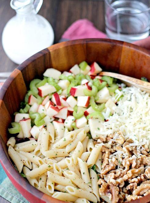 pâte salade pomme céleri fromage noix