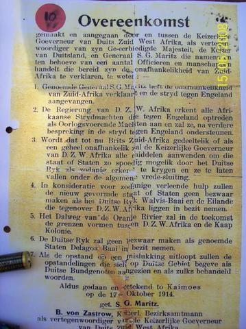 Geni - Photos in Photos from Maritz Rebellie 15 September 1914 - 4 Februarie 1915 Geni - Photos in Photos from Maritz Rebellie 15 September 1914 - 4 Februarie 1915  Genl. S.G. Maritz - Overeenkomst tussen die Keizer Goeverneur van Duits Zuid West Afrika