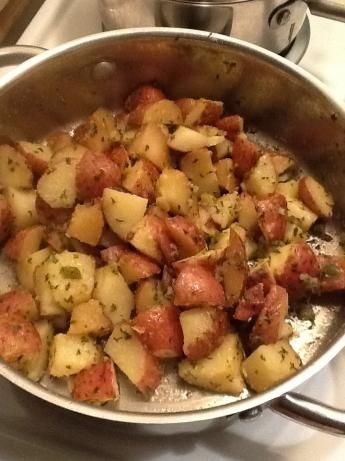 "Stove-Top ""roasted"" Red Potatoes--yummy! 10 minutes was WAY too long in my microwave; the potatoes came out all gummy and shriveled.  Maybe start at 6 minutes.  Soaked them in butter with chopped onions and minced garlic and they were almost edible...surely will be better if they are not overcooked!"