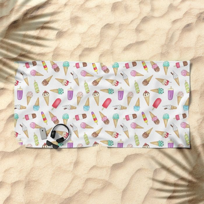 Ice Creams and Ice Lollies pattern design by Hazel Fisher Creations - pen and watercolour illustrations.  Available of beach towels (and many other products!) from Society6.