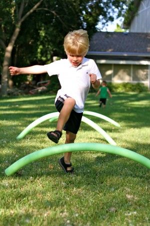 Pool noodle hurdles - obstacle course