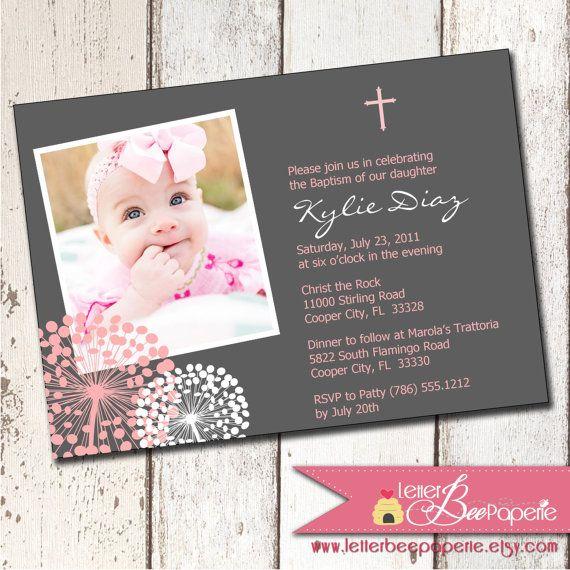 Cotton Blossom Custom Photo Boy/Girl/Twin Baptism Invitation - Christening - First Communion - Choose Your Colors - Printable Digital File
