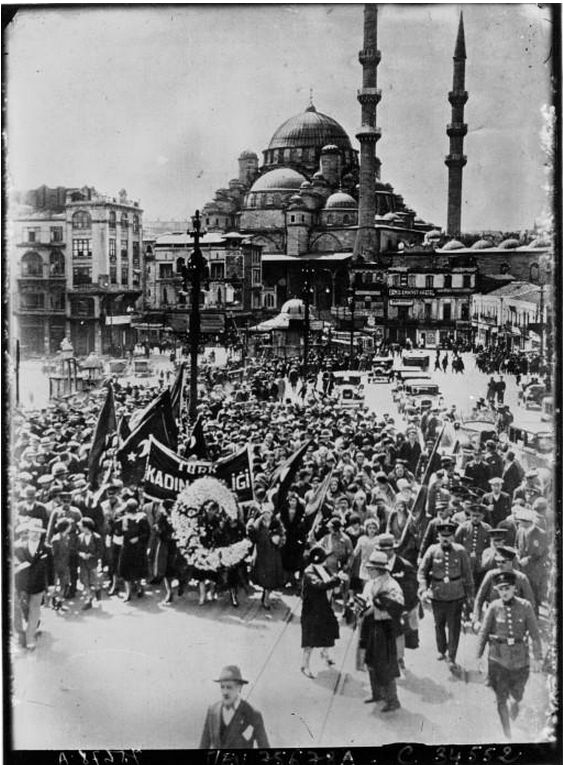 Women in Constantinople (Istanbul), 1930, demanding the right to vote. They got it in 1934.