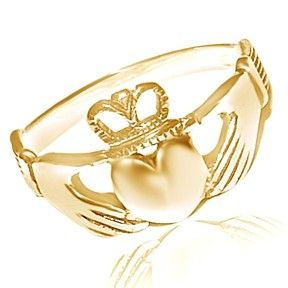 18K Yellow Gold Solid Two Hands Holding Heart Claddagh Ring by JewelryHub on Opensky