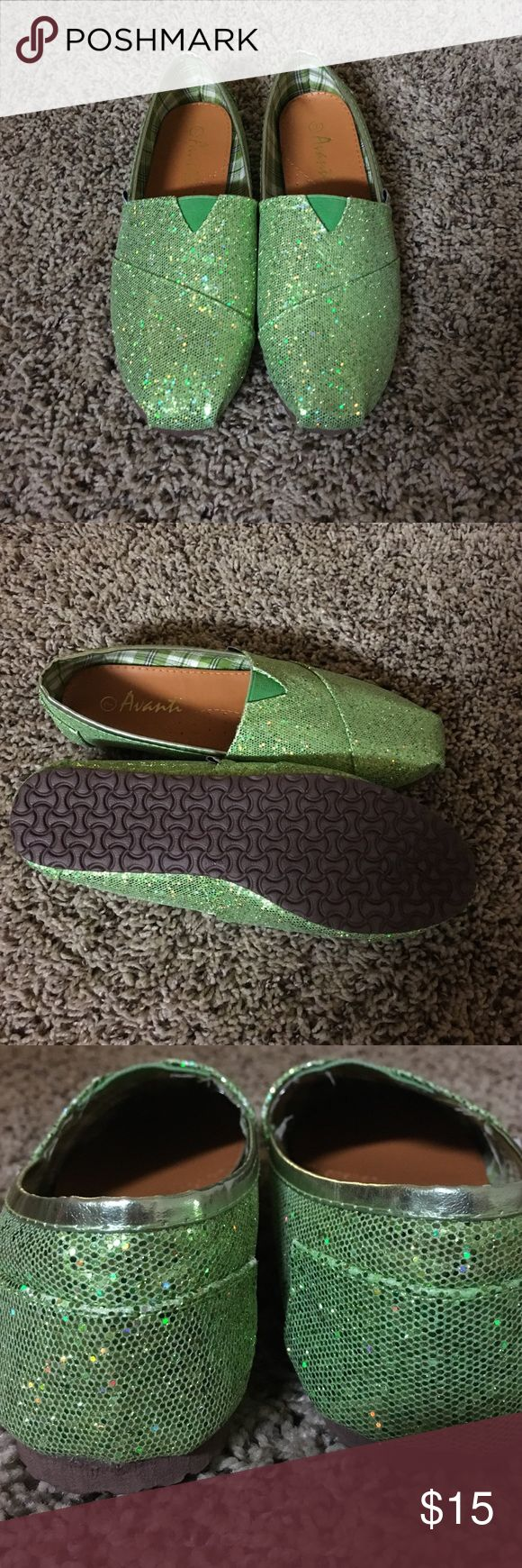 NWOT sparkly flats Super fun green sparkly flats. Never been worn. Size 7 but fit like 7.5. They look like Toms! Shoes Flats & Loafers