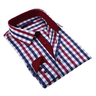 Brio Milano Men's Red and Grey Gingham Plaid Classic Fit Button-down Shirt | Overstock.com Shopping - The Best Deals on Dress Shirts
