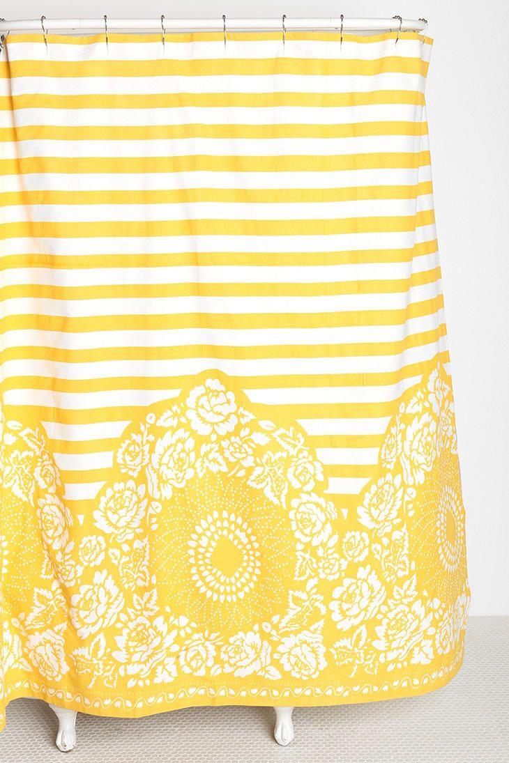 Yellow stripe shower curtain - Plum Bow Rose Stripe Shower Curtain Yellow One Size A_furn_curtains
