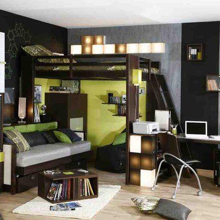 Une chambre d ado enti rement noire urban lit mezzanine and marie claire for Chambre loft ado