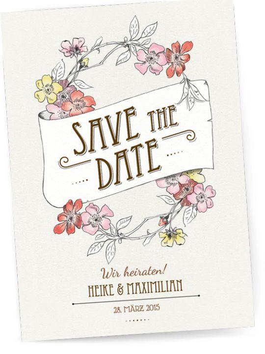 Save the Date Karte oder Einladung zur Hochzeit - Jugendstil / Vintage ...