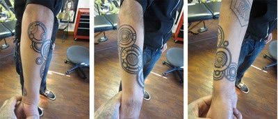 "Doctor Who tattoo of the doctor's name in Gallifreyan! this was was done by Sal ""El Chamuco"" Cortez at Amor Eterno Tattoo in Oakland, CA."