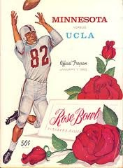 The 1962 Rose Bowl, played on January 1, 1962, was the 48th Rose Bowl Game. The Minnesota Golden Gophers defeated the UCLA Bruins, 21–3. It was broadcast on the NBC television network and was the first national color television broadcast of a college football game