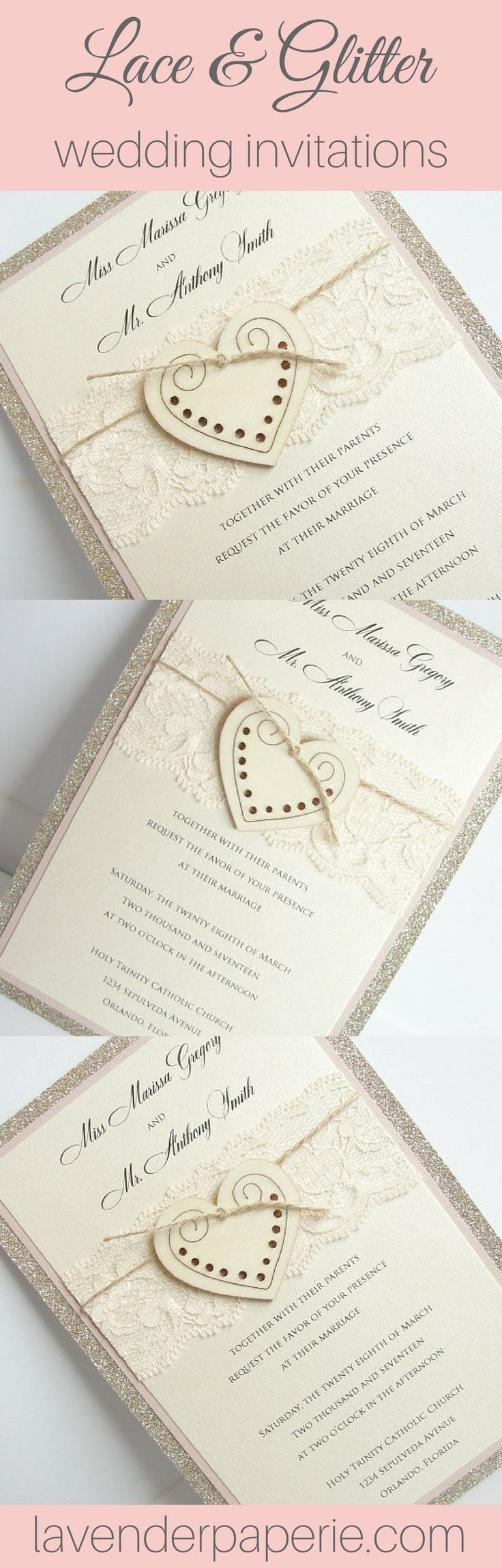diy wedding invites rustic%0A Heart  glitter  Heart Wedding InvitationsParty