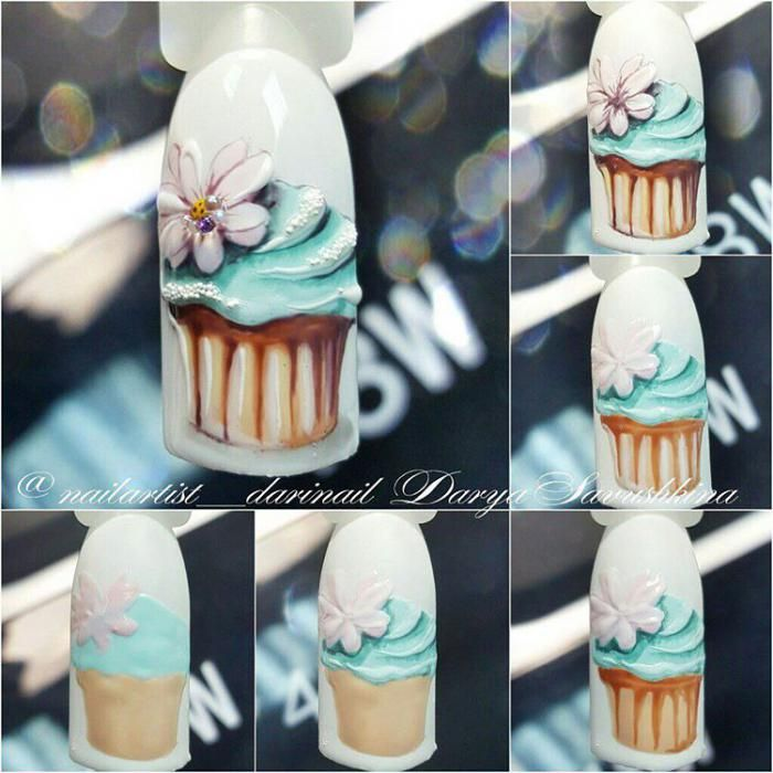 рисунки пироженки на ногтях
