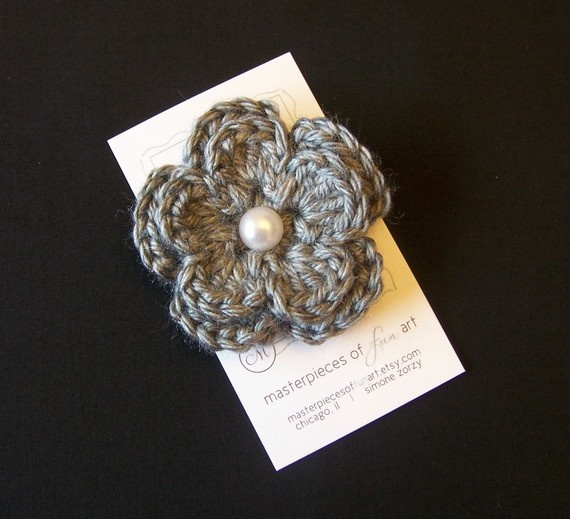Grey Crocheted Flower Hair Clip with Pearl Center - gray crocheted fl ...