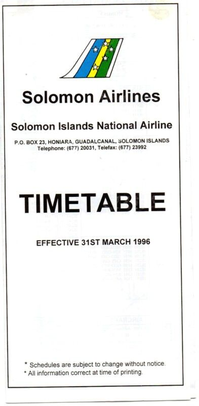 Timetable Solomon Airlines March 1996