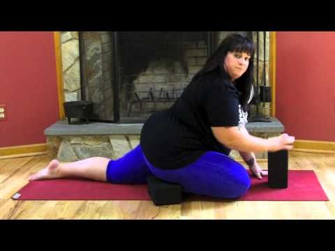 Pigeon Pose Modifications- I love this lady! she is so inspiring! Who says curvy women can't do yoga. She gives me hope that I can do more than the simplest yoga poses. :-) and she gives great modifications for beginners. this one is how to modify the pigeon pose and it works great for extremely tight hips like mine.