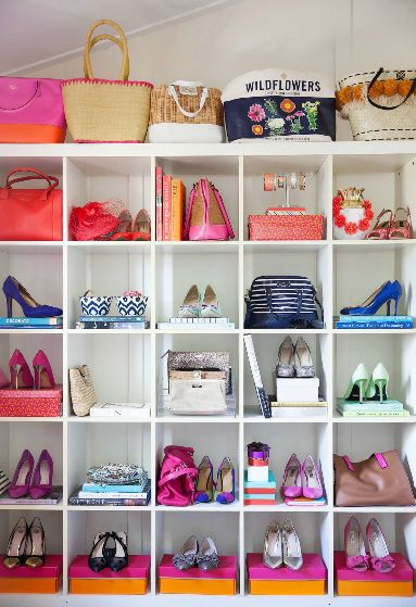 Absolutely love this shoe closet! Wish I had the room in my place to do this. And all the Kate Spade shoes and bags is a bonus!