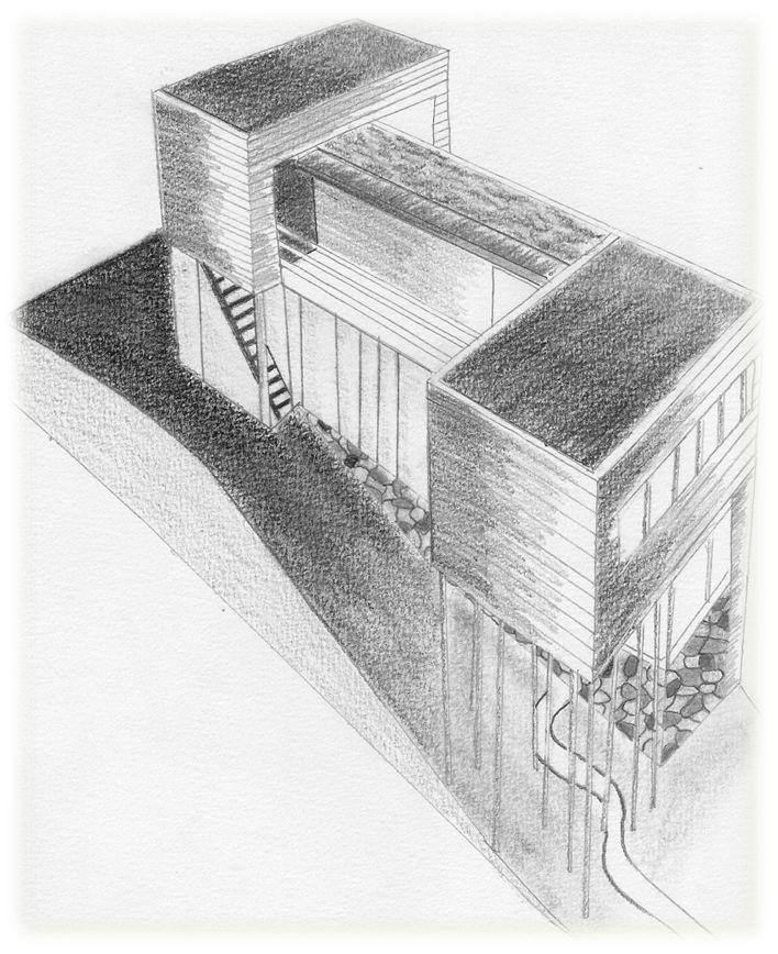 ''Villa Dall' Ava de Rem Koolhaas'' Tecnica:Dibujo en lapiz grafito