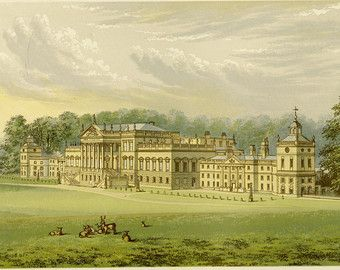 """Matted Castle Print C. 1866 F.O. Morris Engraving County Seat Wentworth Woodhouse Yorkshire England 10x12"""""""