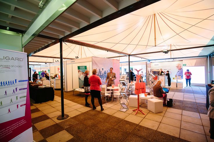 The Rippon Hall's terrace with trade stall exhibitions during a conference in Wanaka, NZ