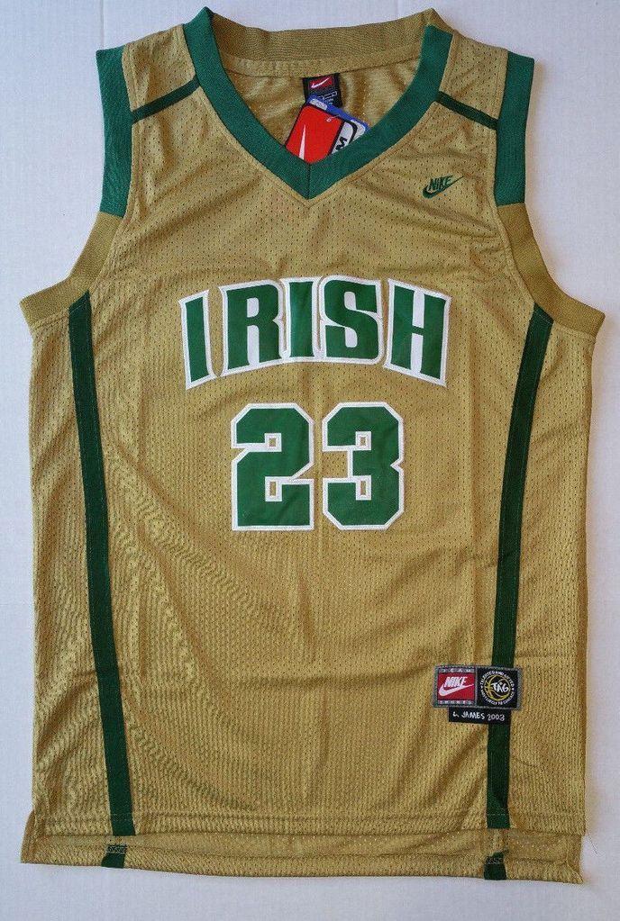 5e3e61cb57de Men 23 Lebron James Swingman Jersey Gold Mary IRISH High School Jersey