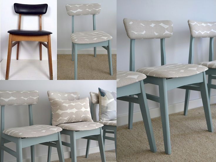 Mid Century Retro Dining Chair Reupholstery Before After. Pebbles Fabric  (John Lewis) Oval