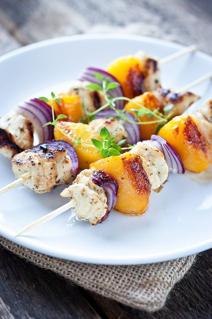 Grilled Chicken Skewers with Peach, Red Onions, and Thyme
