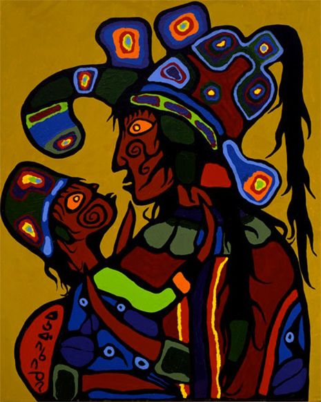 "Norval and Harriet Morrisseau had seven children together: Victoria, David, Pierre, Eugene, Christian, Michael, and Lisa. Morrisseau, ""Artist's Wife and Daughter,"" c. 1975, McMichael Canadian Art Collection. #ArtCanInstitute"