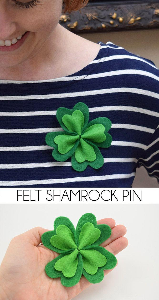 Simple Felt Shamrock Pin