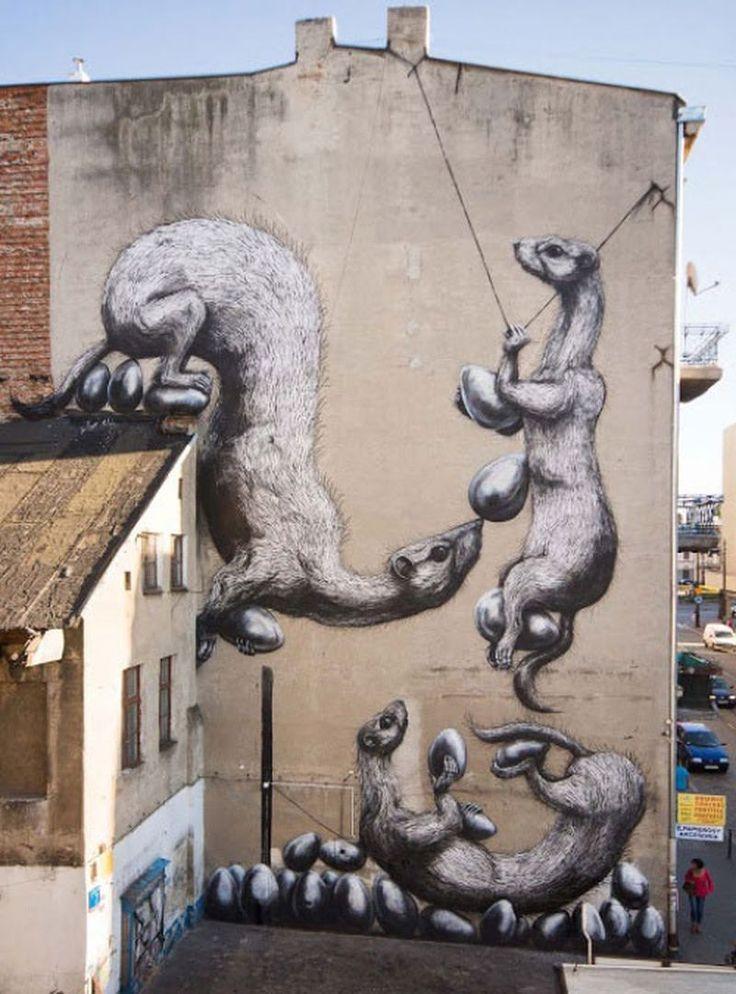 Selection of creative street art from around the globe Lodz, Poland. ROA #lodz