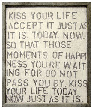 Kiss Your Life' Reclaimed Wood Vintage Wall Art - transitional - Prints And Posters - Kathy Kuo Home