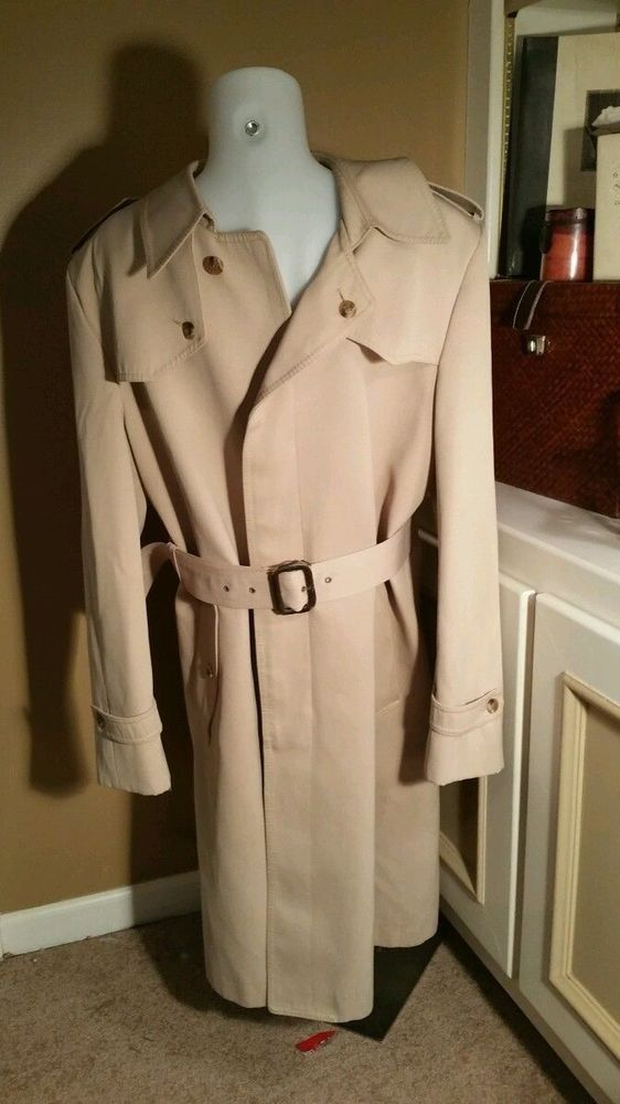 Vintage NINO CERRUTI Rue Royale TrenchCoat in Beige 42R Dacron/poly blend Paris in Clothing, Shoes & Accessories, Men's Clothing, Coats & Jackets   eBay