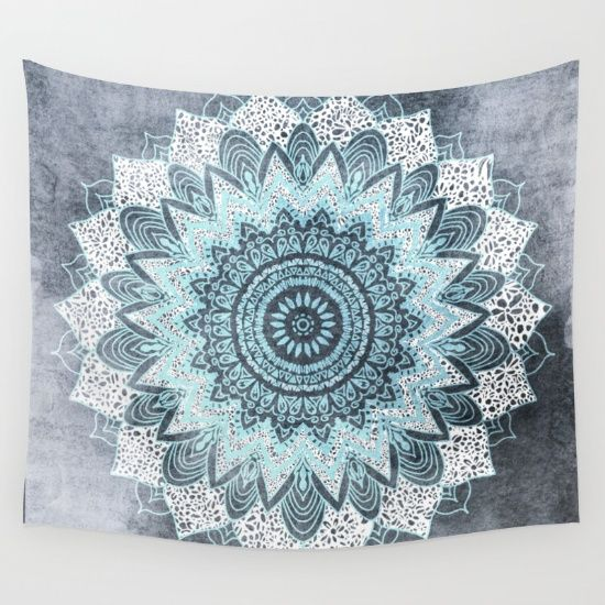 Bohochic Mandala Illustration in Blue, with a watercolor texture Background. Mixed Media.