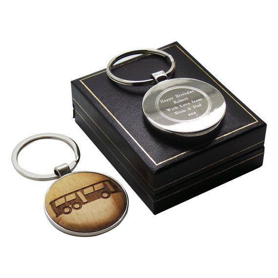 Bus Driver Keyring Personalised Silver by BritishGoldCompany