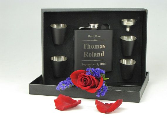 1 Personalized Best Man Gift Groomsmen Gift Engraved Flask
