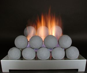 ventless gas log fireballs grey cannon balls unvented stainless burner