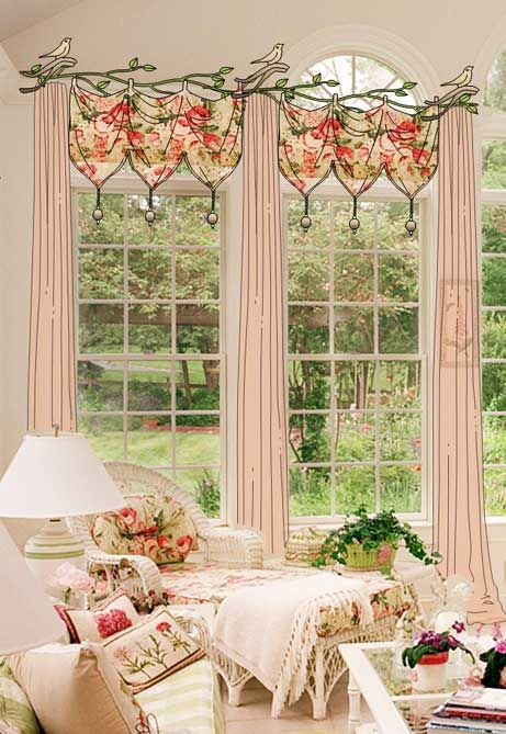living beautifully sun room floral chaise love the window treatment