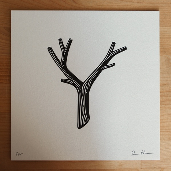 Jessica Hische // Image of Letterpressed Y: White Wood, Antlers, Letter Pressed, Illustration, Daily Dropcap, Jessica Hische, Trees Branches, Families Trees, Drawings Trees