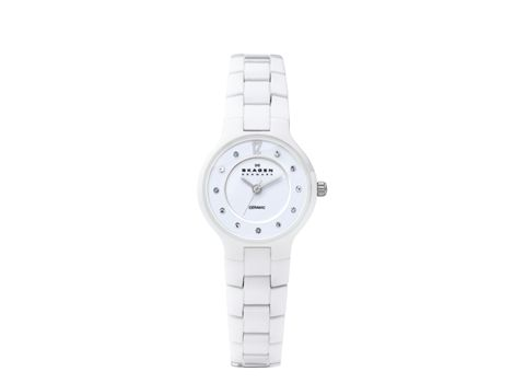 "#Skagen ""White Label"" ladies' white ceramic dress watch. Ultra slim, minimalist Danish design, these elements of design are now the instantly recognisable design DNA of Skagen ""White label"" collection. Skagen Denmark watches are made from high-grade stainless steel, titanium or ceramic so they're nickel-safe and an International limited warranty applies to the lifetime of each watch. 