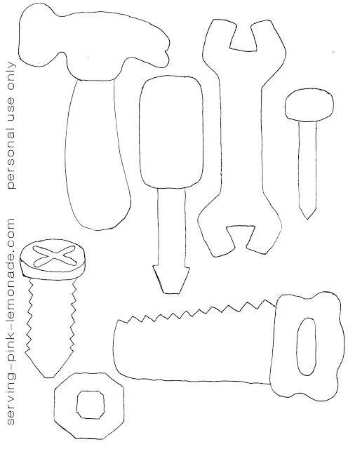 Template for Felt Tools - Nice to color for little ones