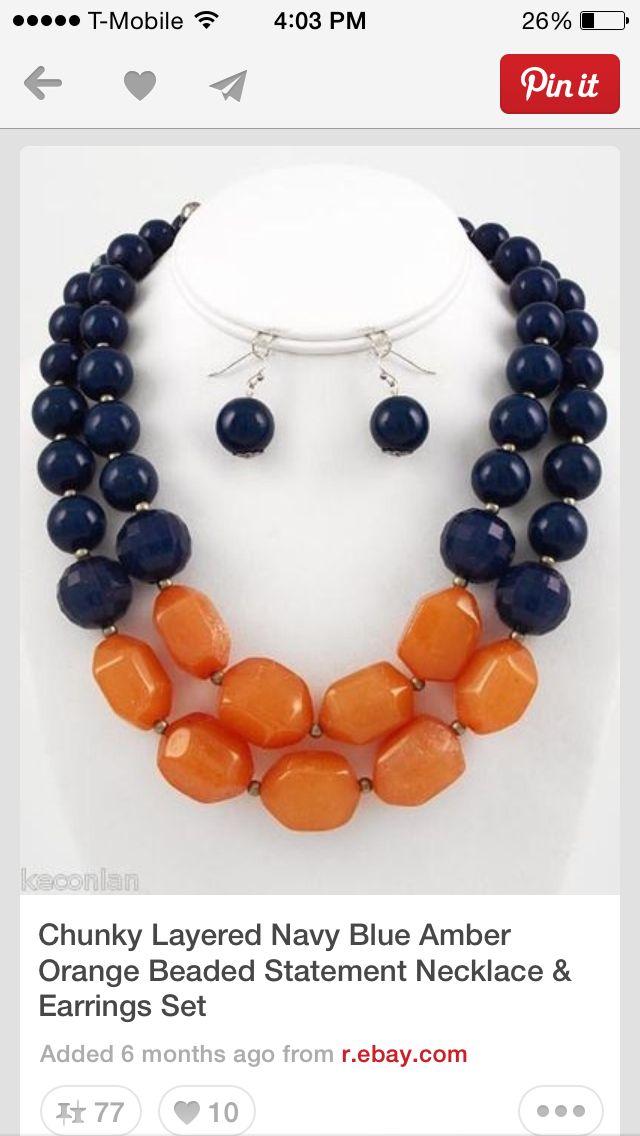 Navy orange beaded necklace