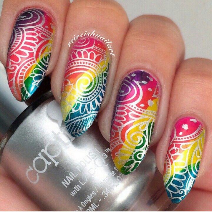 Nail Art using Caption Polish & Pueen stamping plate - colorful stamping nail q