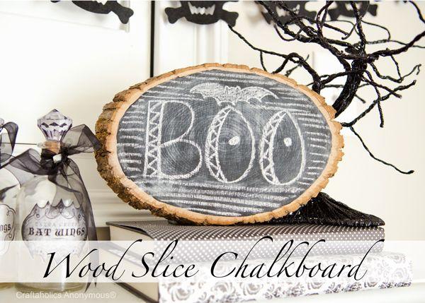 Craftaholics Anonymous® | Halloween Wood Slice Chalkboard