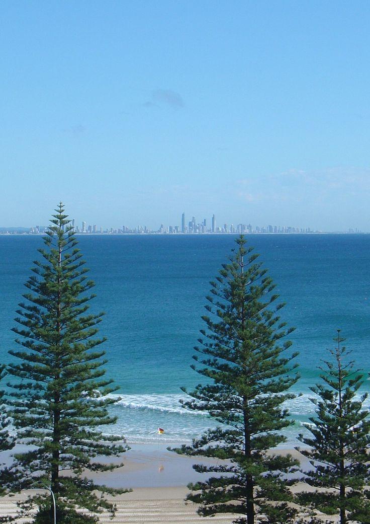 Rainbow Bay and Surfers Paradise in Distance, Coolangatta, Gold Coast, Australia