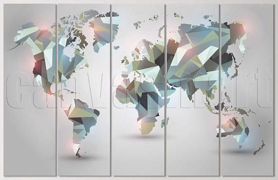 Geometric Abstract Graphics World Map Triptych Multi Panel