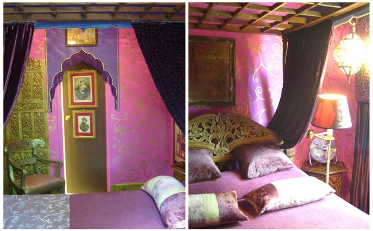 Ah this Indian inspired bedroom is such a pretty color burst and yet still subdued...